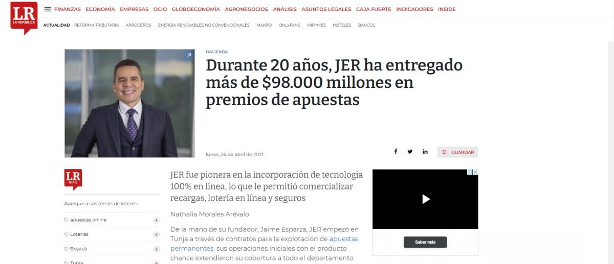 Durante 20 años, JER ha entregado más de $98.000 millones en premios de apuestas